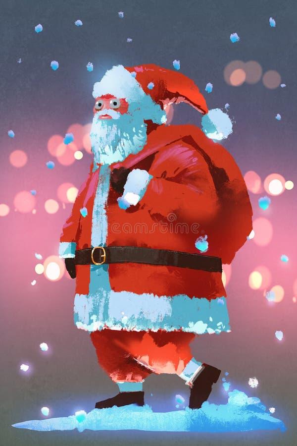 Santa Claus med gåvor hänger löst, julbegreppet stock illustrationer