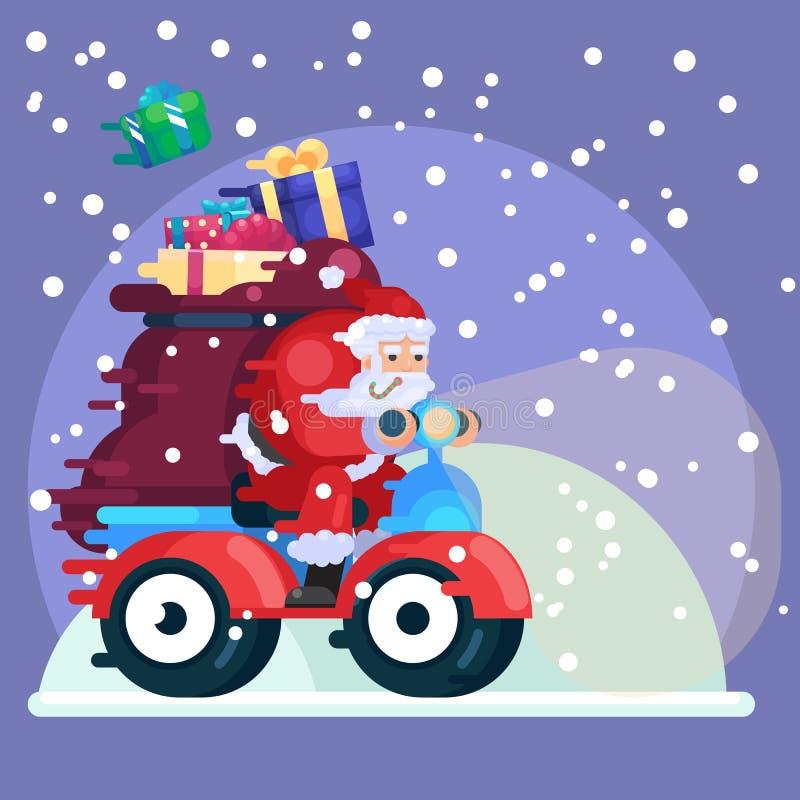 Santa Claus med gåvor på illustration för vektor för tecknad film för natt för jul för nytt år för sparkcykel färgrik i plan stil royaltyfri illustrationer