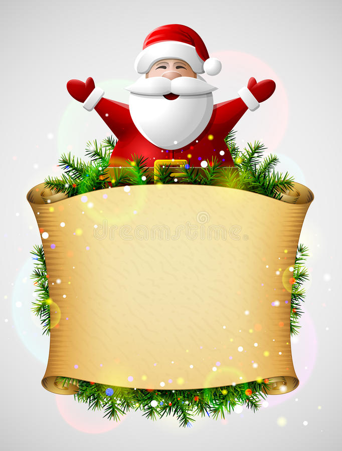 Santa Claus med hans händer upp ovanför julpapperssnirkel stock illustrationer