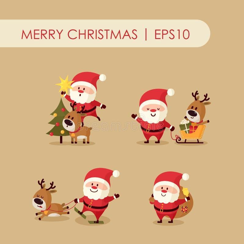 Santa Claus med hjortar stock illustrationer