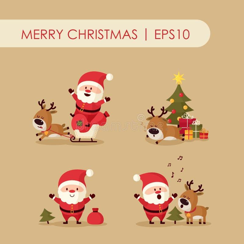 Santa Claus med hjortar vektor illustrationer