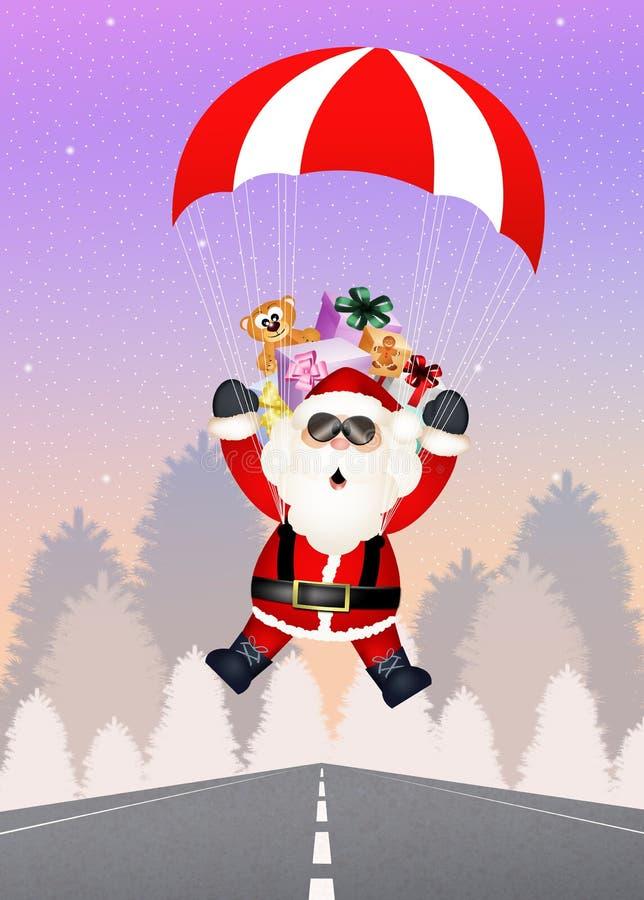 Santa Claus med hoppa fallskärm royaltyfri illustrationer