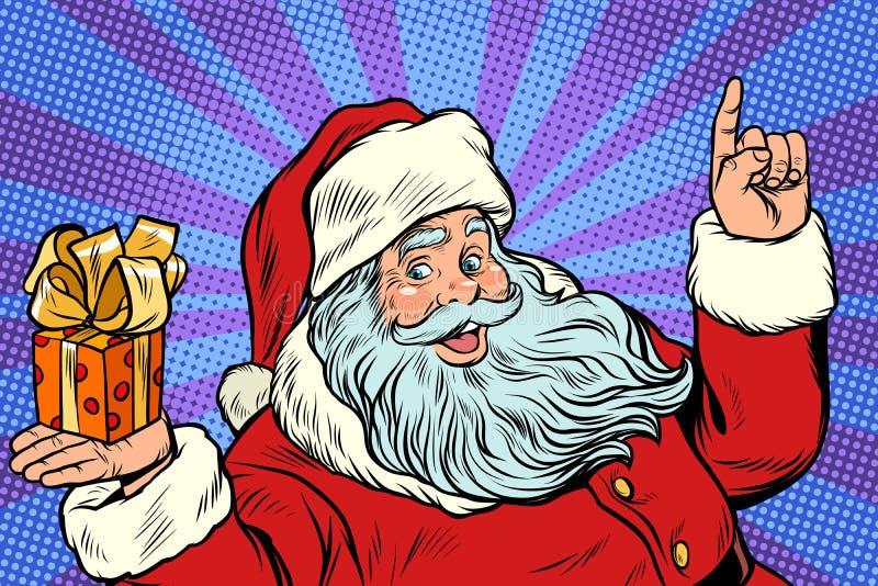 Santa Claus med julgåvaasken royaltyfri illustrationer