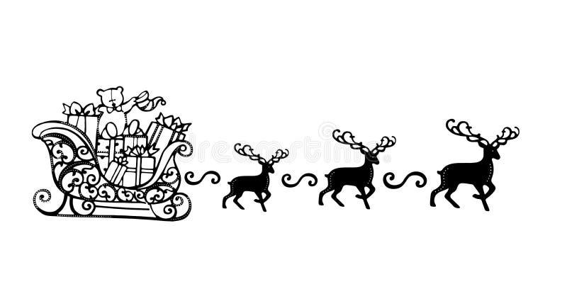Santa Claus med konturn för svart för renslädesymbol vektor illustrationer