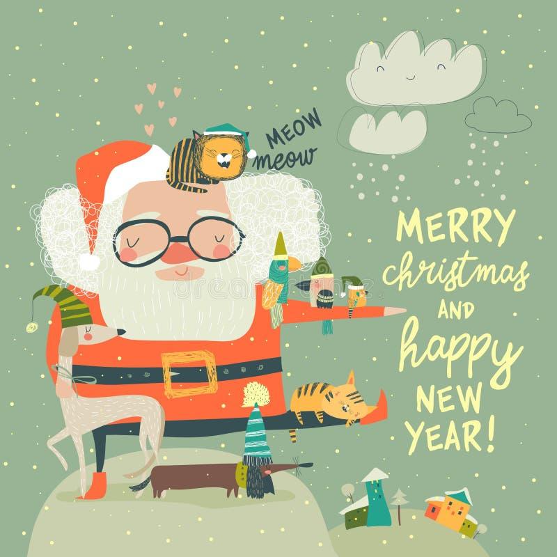 Santa Claus med söta katter och hundar vektor illustrationer