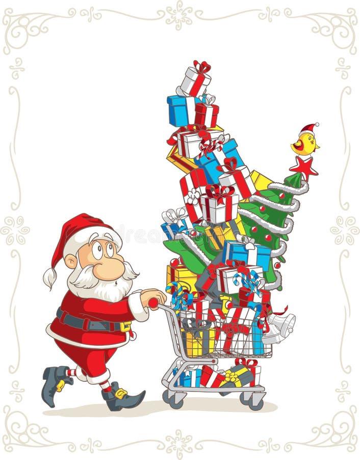 Santa Claus med tecknade filmen för vektor för shoppingvagn vektor illustrationer