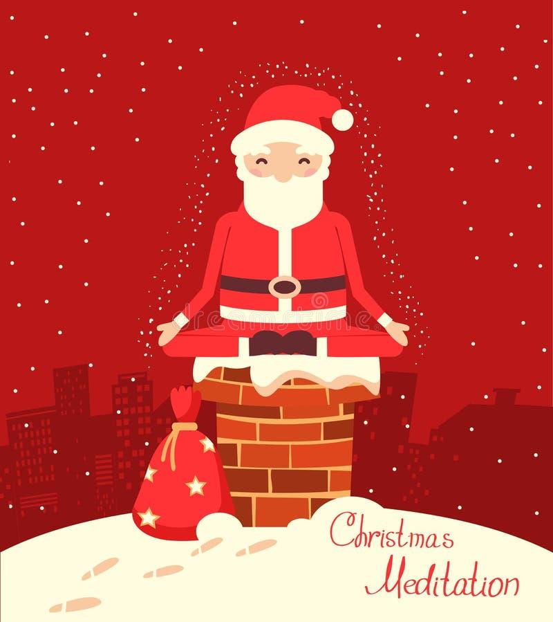 Santa Claus-Meditation auf dem Kamin in der Heiligen Nacht lizenzfreie abbildung
