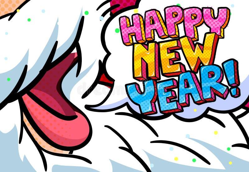 Santa Claus, mensagem do ano novo feliz ilustração do vetor