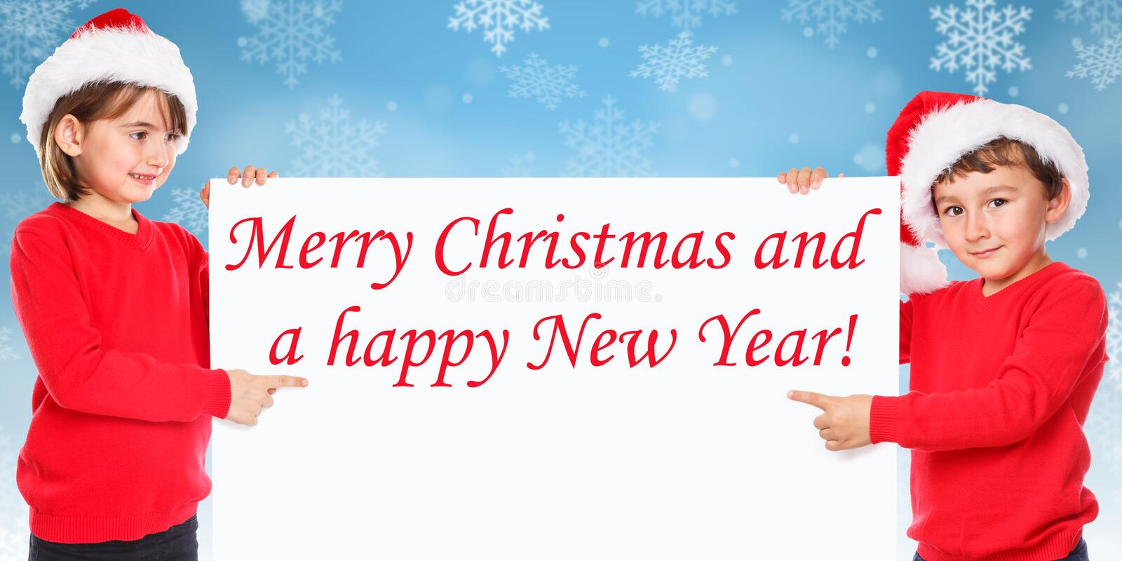 Santa Claus Merry Christmas card snow children kids pointing loo stock image