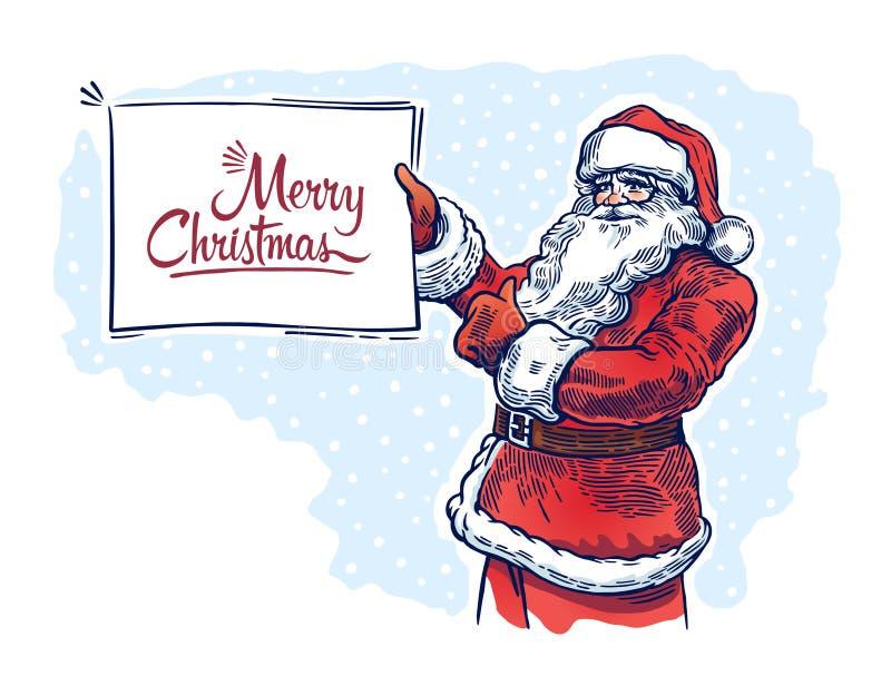 Santa Claus met affiche royalty-vrije illustratie