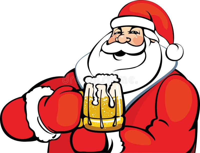 Santa Claus met een mok bier vector illustratie