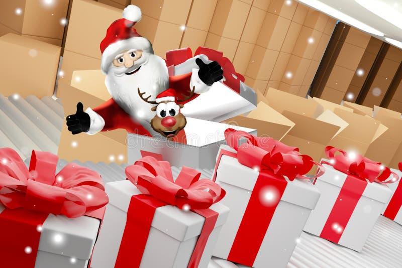 Santa Claus met een rij van Kerstmis stelt voor en leveringsdozen op transportband 3d-illustratie stock illustratie