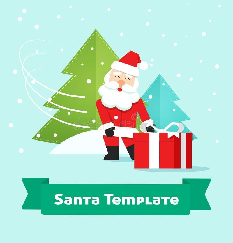 Santa Claus met gift, Vrolijke Kerstmis, Nieuwjaar huidige levering stock illustratie