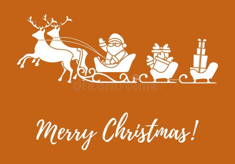 Santa Claus met Kerstmis stelt in aren met rendieren voor N stock illustratie