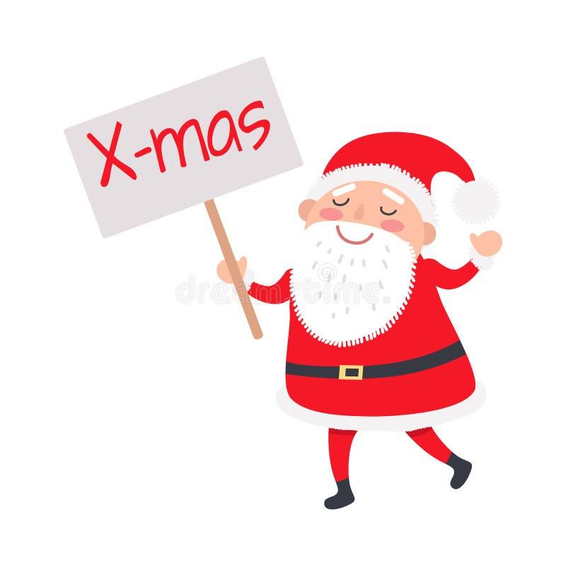 Santa Claus met Kerstmisaffiche op Witte Achtergrond stock illustratie
