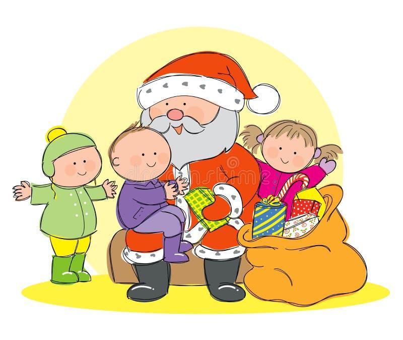 Santa Claus met kinderen stock illustratie