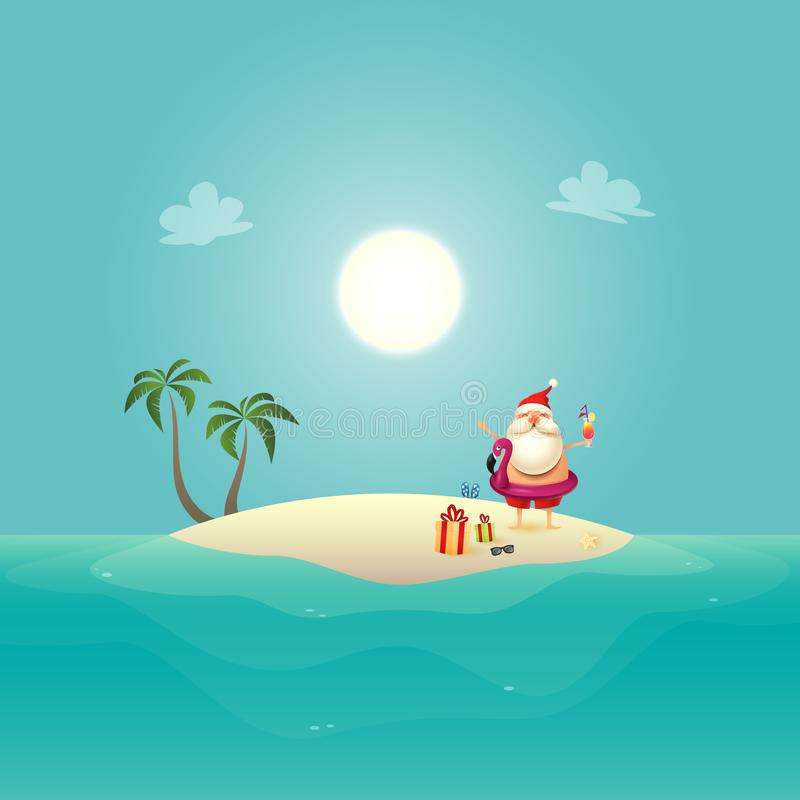 Santa Claus met opblaasbaar zwemt vlotter op siland viert de zomer - Kerstmis in juni stock illustratie