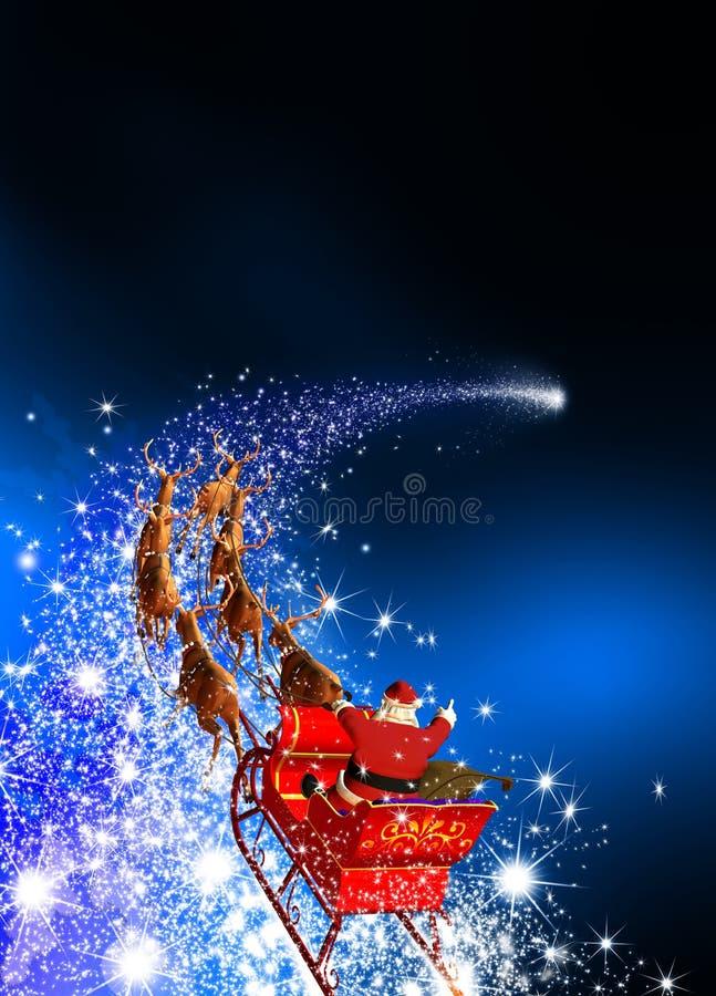 Santa Claus met Rendierslee die op een Dalende Ster berijden - Blauwe B stock fotografie