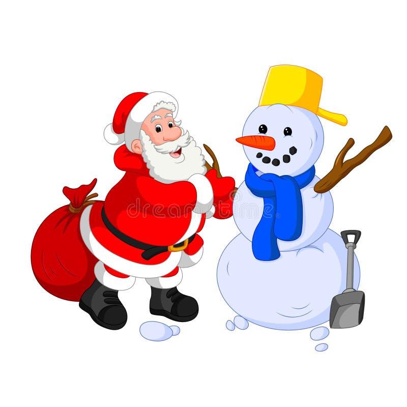 Santa Claus met sneeuwman vector illustratie