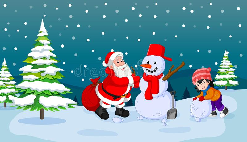 Santa Claus met sneeuwman en jong geitje het spelen sneeuw royalty-vrije illustratie