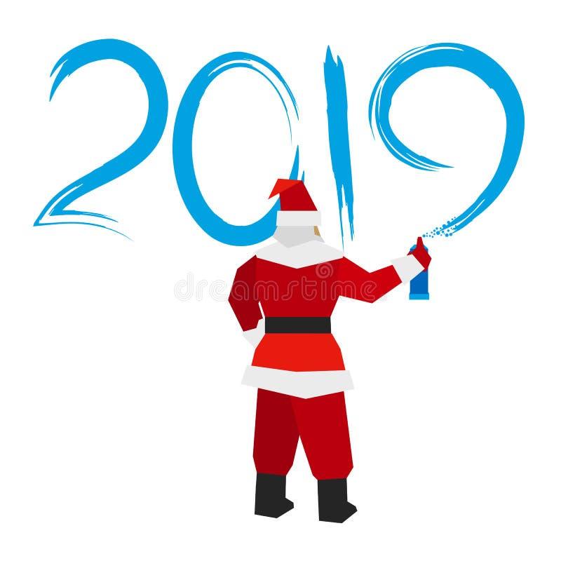 Santa Claus met spuitbus schrijft ` 2019 ` stock illustratie