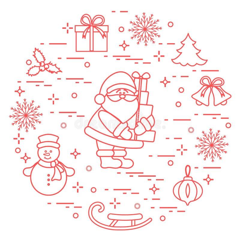 Santa Claus met stelt en andere Nieuwjaar en Kerstmissymbo voor stock illustratie