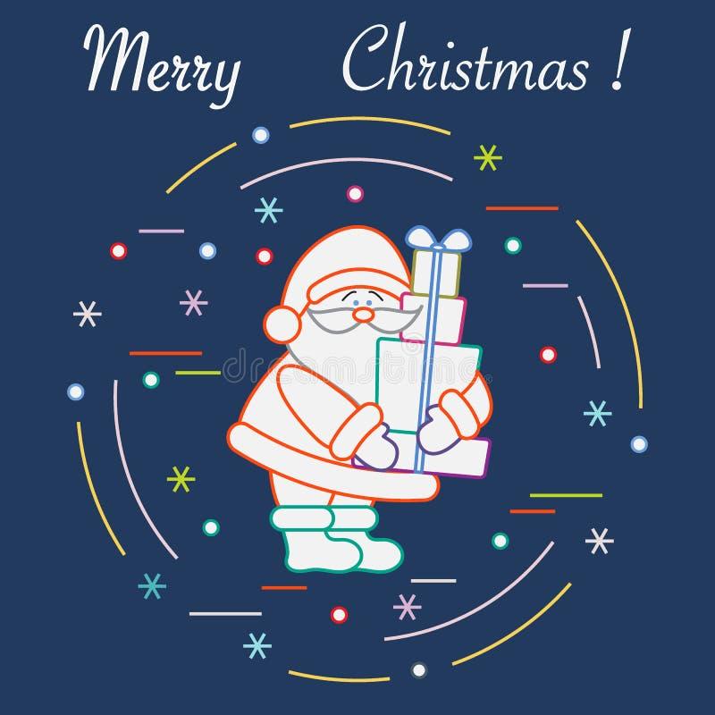 Santa Claus met stelt voor Nieuwjaar en Kerstmissymbolen royalty-vrije illustratie