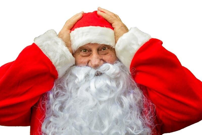 Santa Claus met verraste uitdrukking royalty-vrije stock foto