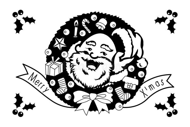 Santa Claus met Vrolijke Kerstmis en Gelukkige de groetkaart van de Nieuwjaarvakantie vector illustratie