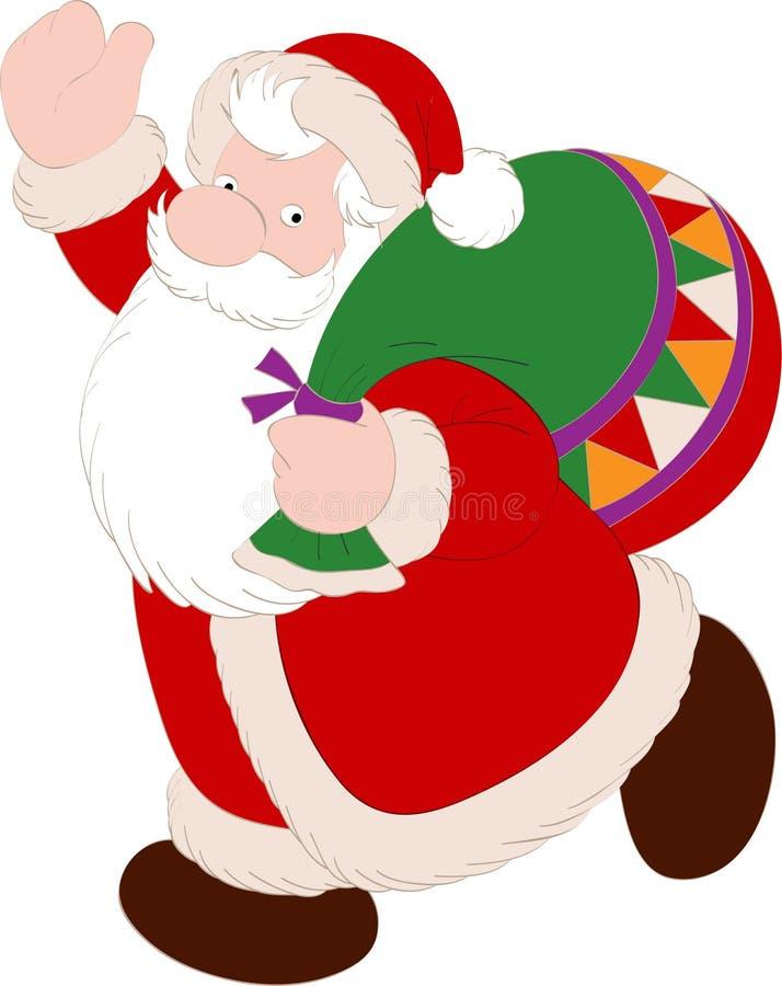 Santa Claus met Zak stock illustratie