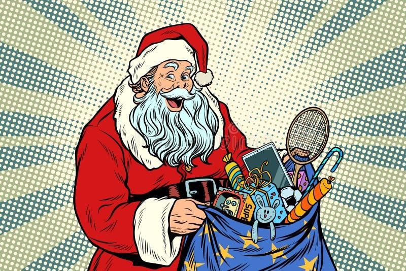 Santa Claus met zak van speelgoed stock illustratie