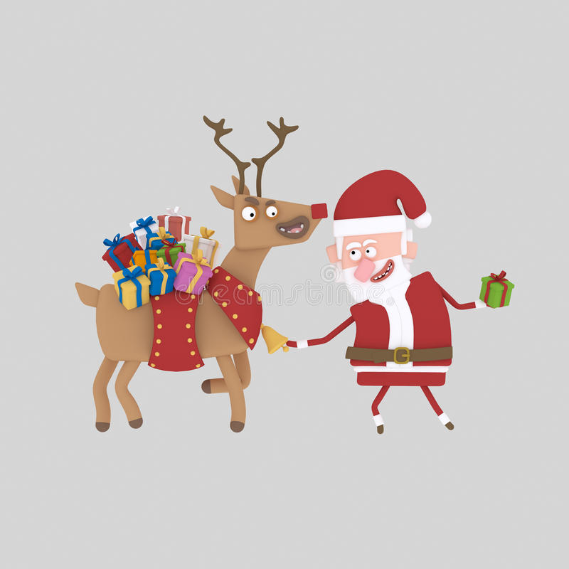 Santa Claus migdali jego sanie 3d royalty ilustracja
