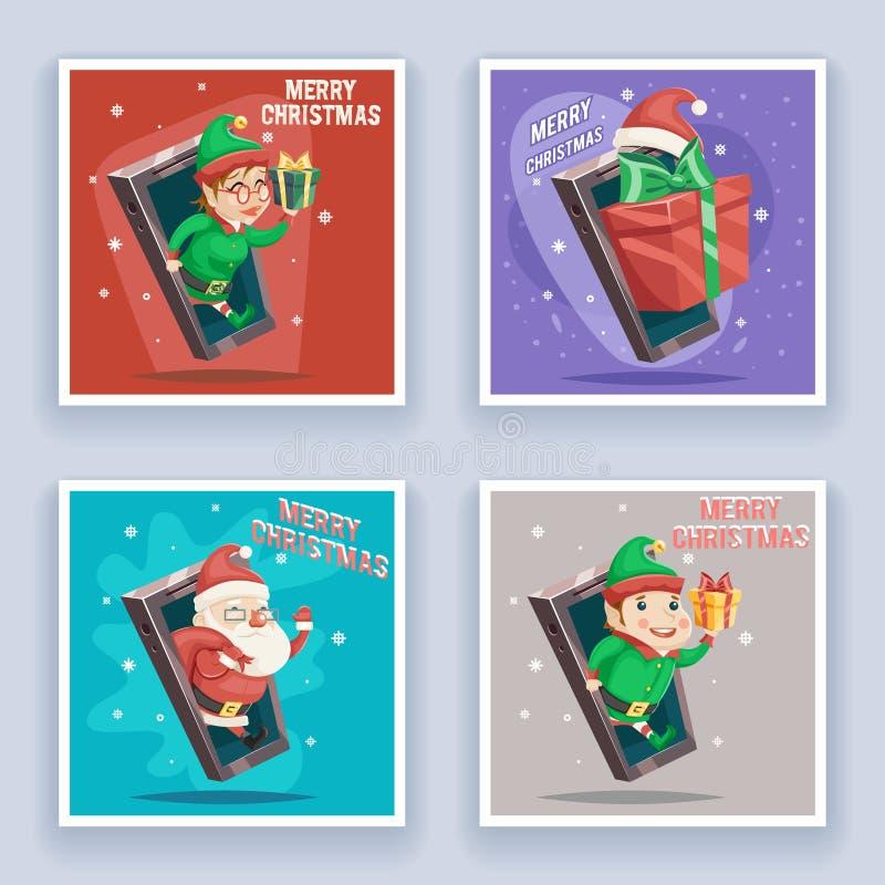 Santa Claus mignonne avec le vecteur hommes-femmes de conception de bande dessinée de téléphone portable de carte de voeux de nou illustration libre de droits