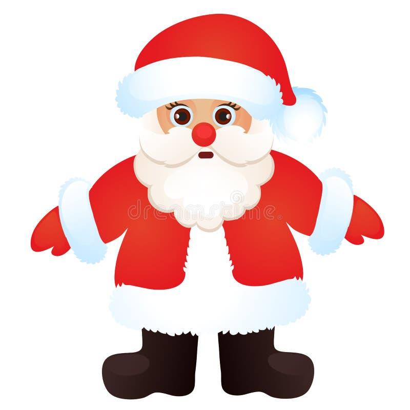 Santa Claus mignonne d'isolement sur un fond blanc Croquis d'affiche de fête de Noël, invitation de partie, d'autres vacances illustration stock