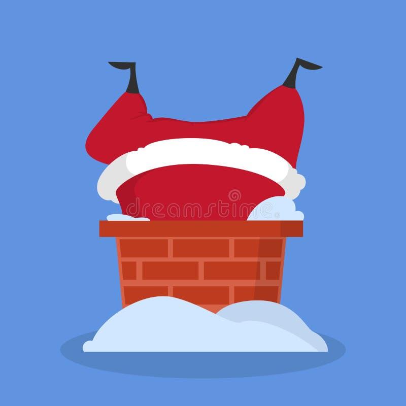 Santa Claus mignonne dans des vêtements rouges a collé dans la cheminée illustration stock
