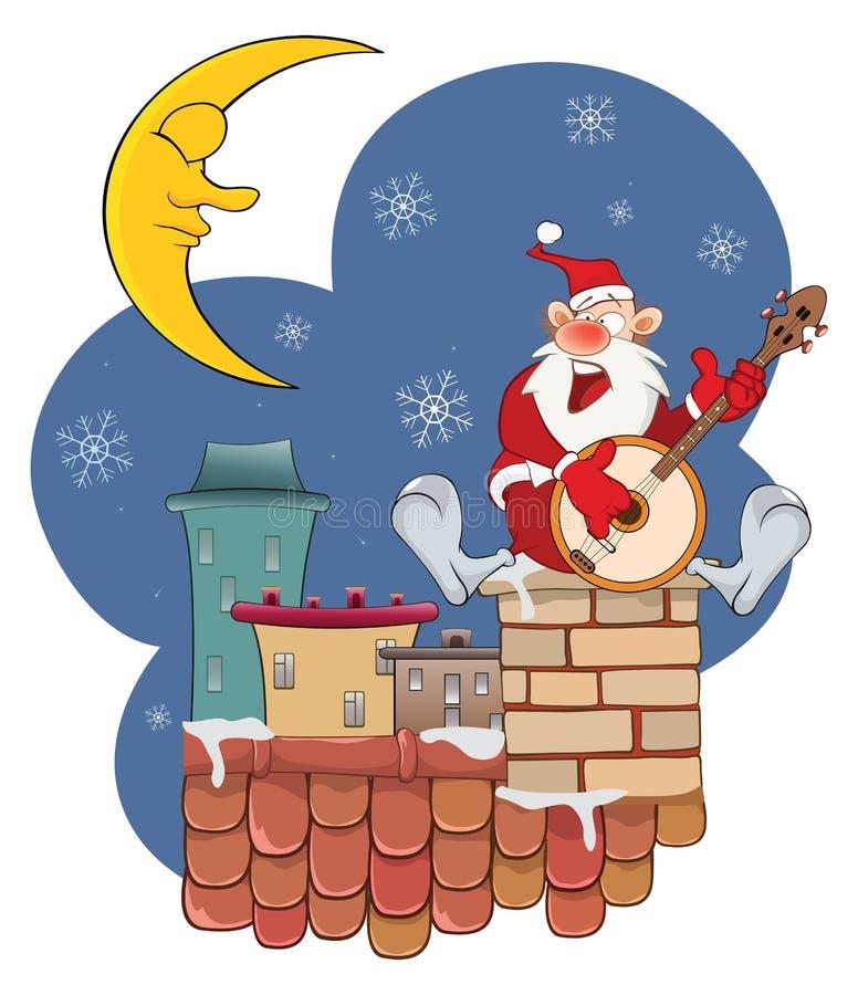 Santa Claus mignonne sur le toit et le banjo illustration de vecteur