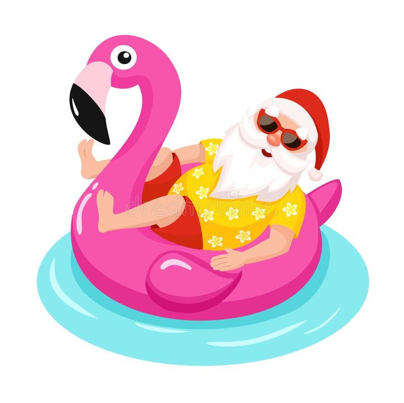 Santa Claus mit aufblasbarem Ring des Flamingos Tropisches Weihnachten Auch im corel abgehobenen Betrag vektor abbildung
