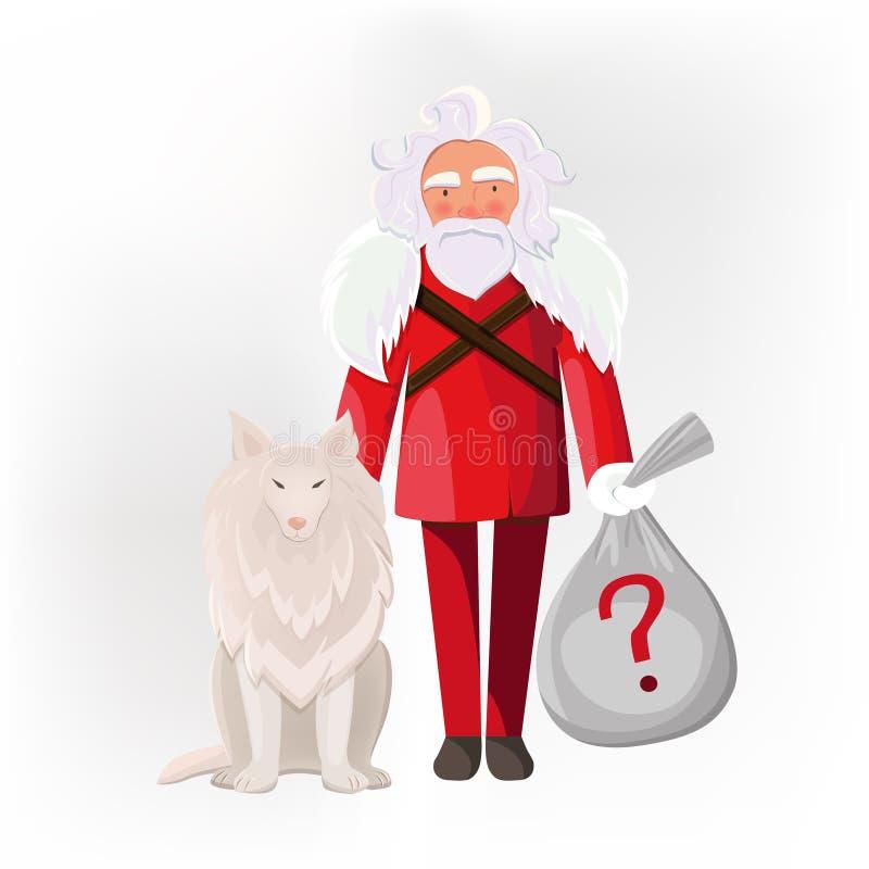 Santa Claus mit dem Hund lokalisiert vektor abbildung