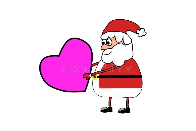 Santa Claus mit einem Herzen Erfüllung des Wunsches Liebe traum Das M?dchen in einer Klage des reizenden L?chelns eines wei?en Ka vektor abbildung