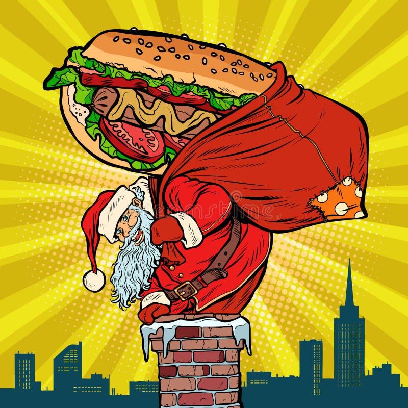 Santa Claus mit einem Hotdog klettert den Kamin Lebensmittellieferung lizenzfreie abbildung