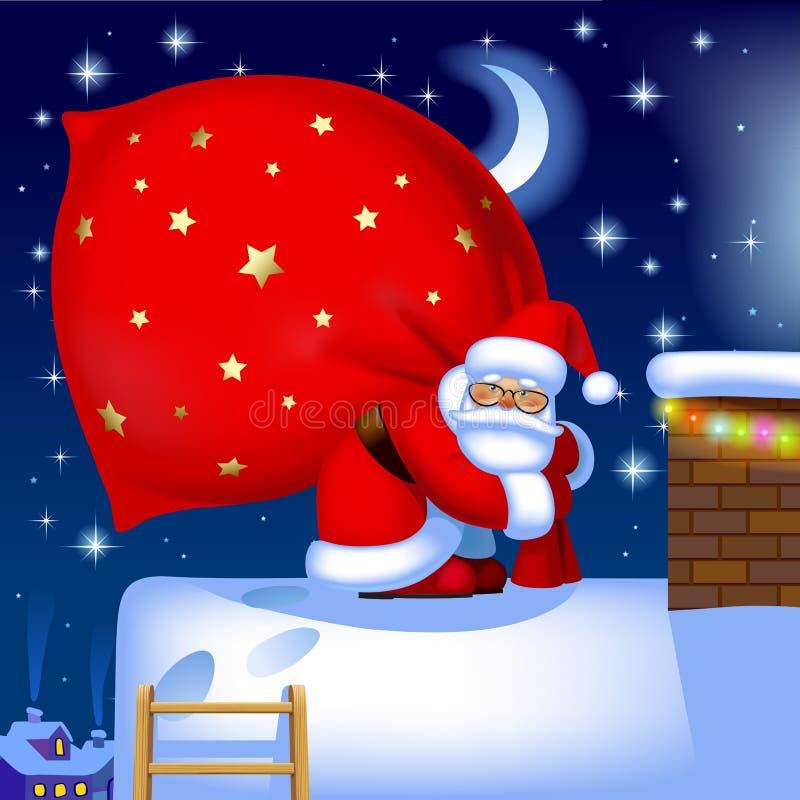 Santa Claus mit einem Sack auf dem Dach lizenzfreie abbildung