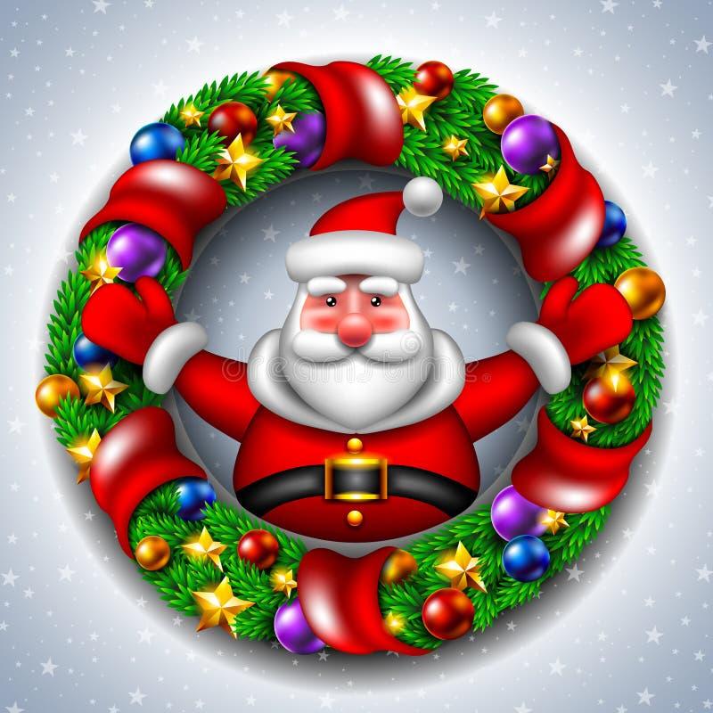 Santa Claus mit einem Weihnachtskranz lizenzfreie stockfotografie