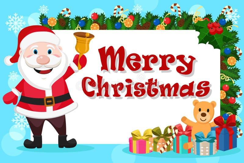 Santa Claus mit einer Glocke in seinen Händen steht nahe bei einem weißen Blatt, das mit Weihnachtsbaumasten und -geschenken verz stock abbildung