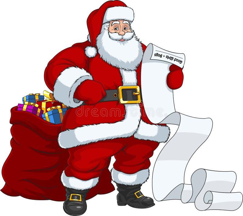 Santa Claus mit einer Tasche von Geschenken vektor abbildung