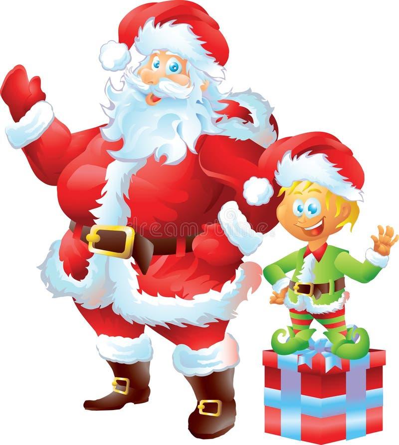 Santa Claus mit Elfe lizenzfreie abbildung