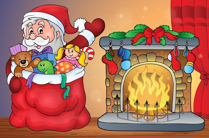 Santa Claus mit Geschenken durch Kamin vektor abbildung