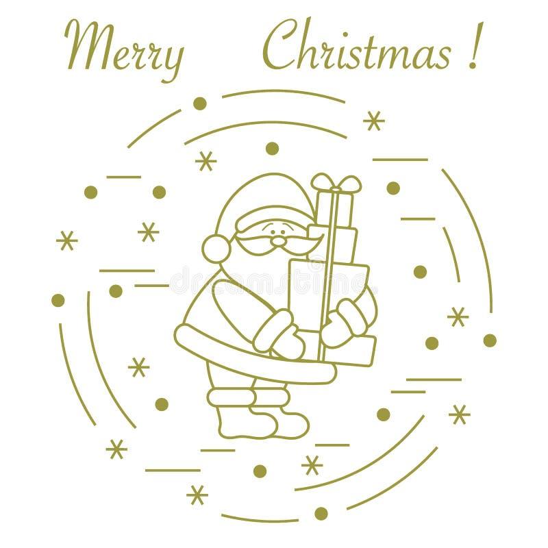 Santa Claus mit Geschenken Symbole des neuen Jahres und des Weihnachten Winterelemente gemacht in der Linie Art vektor abbildung