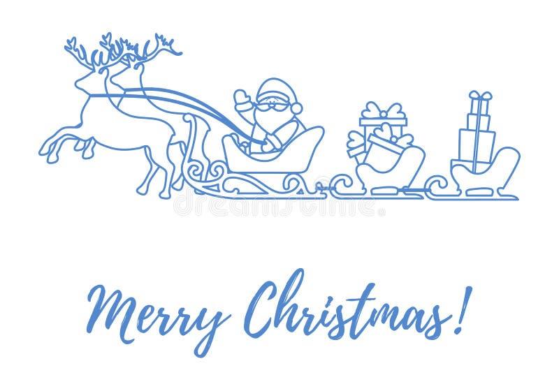 Santa Claus mit Weihnachtsgeschenken in den Pferdeschlitten mit Renen n stock abbildung