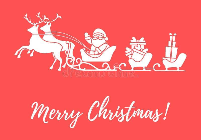 Santa Claus mit Weihnachtsgeschenken in den Pferdeschlitten mit Renen n lizenzfreie abbildung