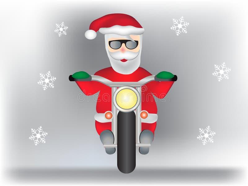 Santa Claus moderna en la moto con los copos de nieve libre illustration